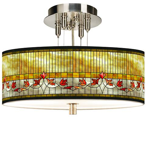 """Tiffany-Style Lily Giclee 14"""" Wide Ceiling Light"""