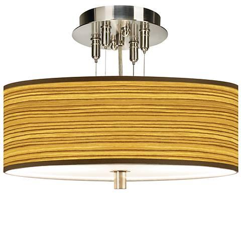 "Tawny Zebrawood Giclee 14"" Wide Ceiling Light"