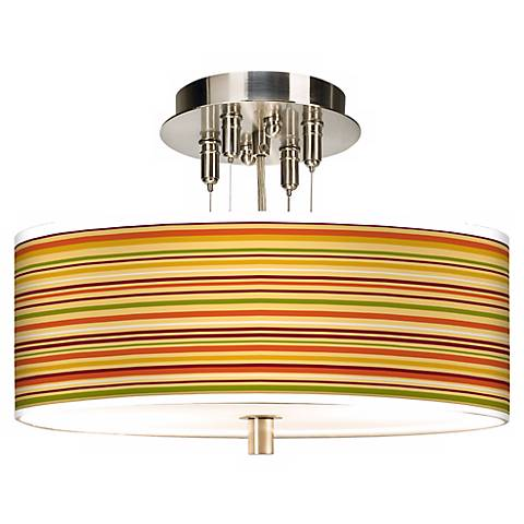 "Stacy Garcia Harvest Stripe Giclee 14"" Wide Ceiling Light"