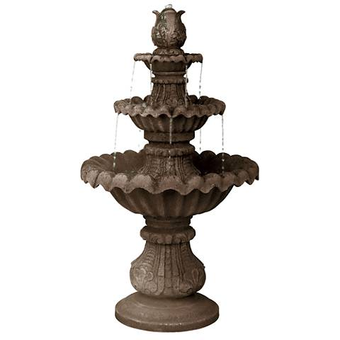 "Classic Three-Tier 46"" High Reconstituted Granite Fountain"