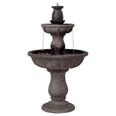 "Classic Two-Tier 37"" High Reconstituted Granite Fountain"