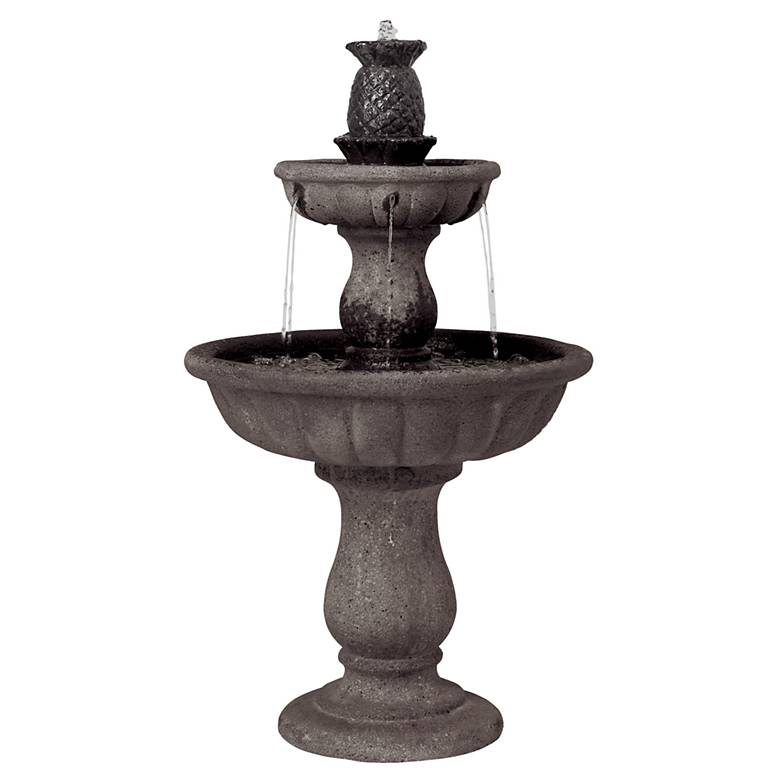 """Classic Two-Tier 37"""" High Reconstituted Granite Fountain"""