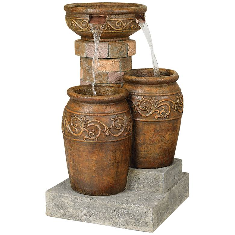 "Tuscan Faux Stone 31 1/2"" High Patio LED Floor Fountain"