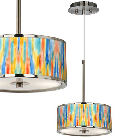 """Tricolor Wash Giclee Glow 10 1/4"""" Wide Pendant Light"""