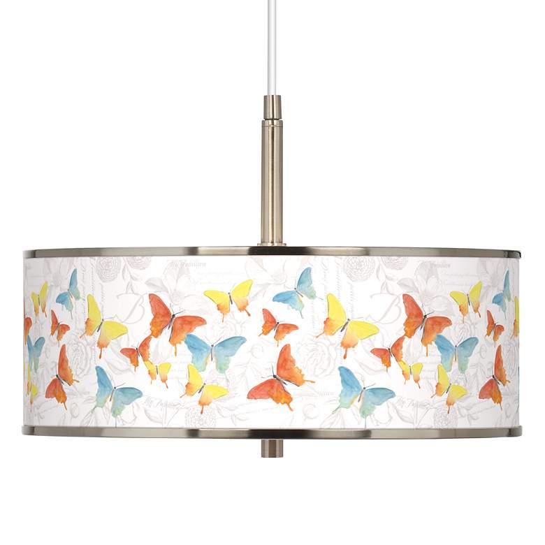 """Pastel Butterflies Giclee Glow 16"""" Wide Pendant Light"""