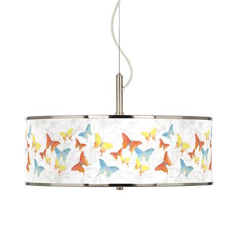 """Pastel Butterflies Giclee Glow 20"""" Wide Pendant Light"""