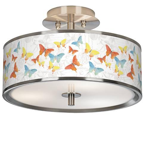 """Pastel Butterflies Giclee Glow 14"""" Wide Ceiling Light"""