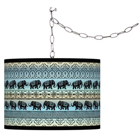 Elephant March Giclee Glow Plug-In Swag Pendant