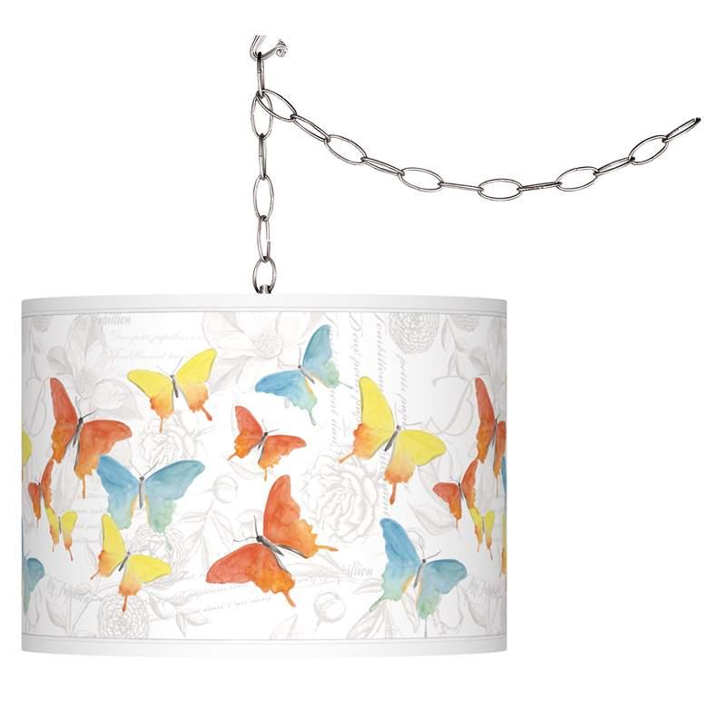 Pastel Butterflies Giclee Glow Plug-In Swag Pendant