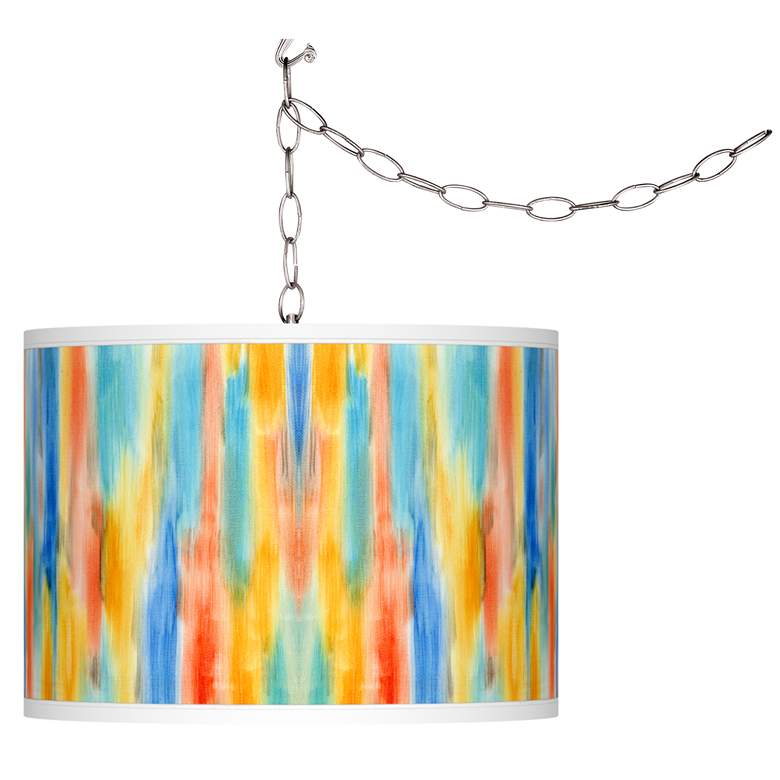 Tricolor Wash Giclee Glow Plug-In Swag Pendant