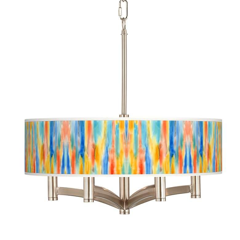 Tricolor Wash Ava 6-Light Nickel Pendant Chandelier