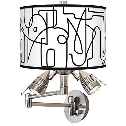 Scribble World Giclee Swing Arm Wall Lamp