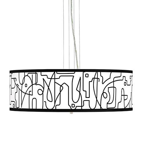 "Scribble World Giclee 24"" Wide 4-Light Pendant Chandelier"