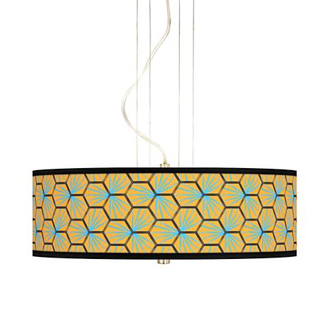 "Hexagon Starburst 20"" Wide 3-Light Pendant Chandelier"