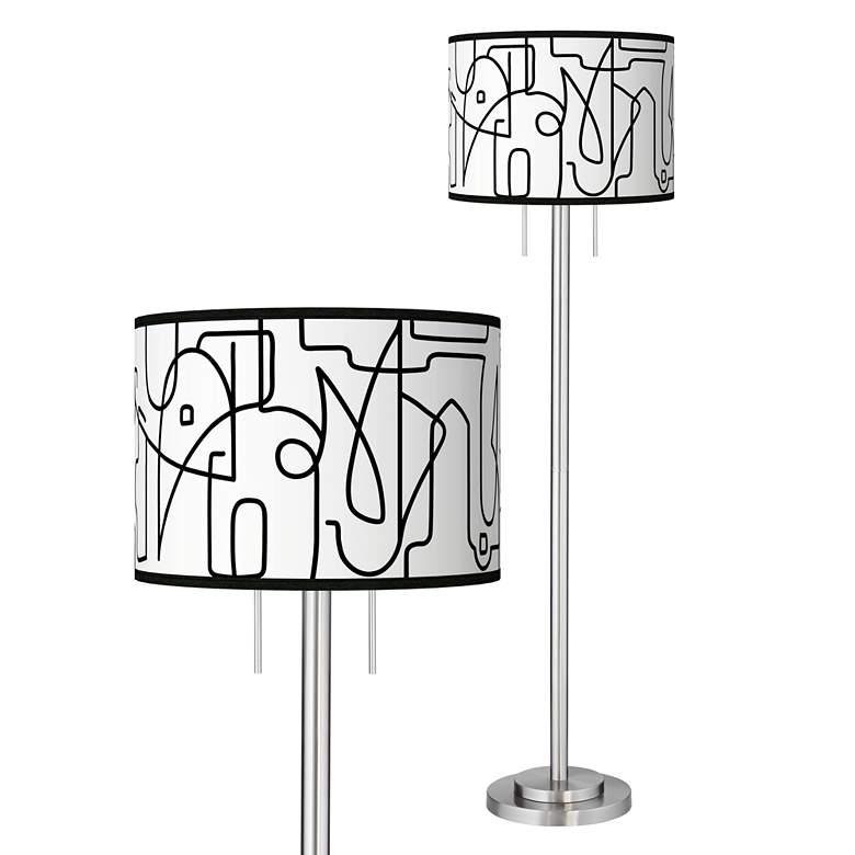 Scribble World Giclee Brushed Nickel Garth Floor Lamp