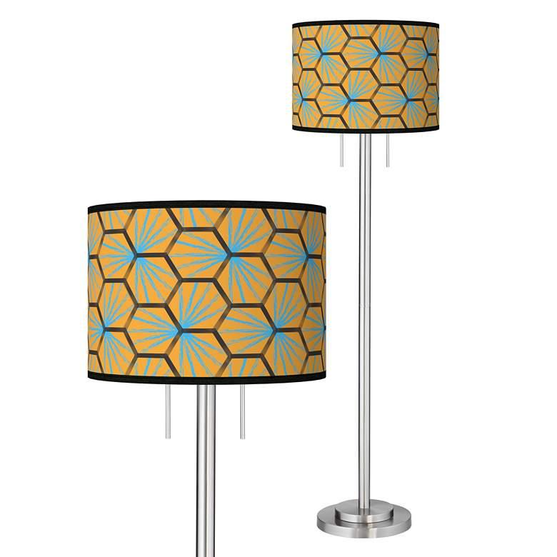 Hexagon Starburst Giclee Brushed Nickel Garth Floor Lamp