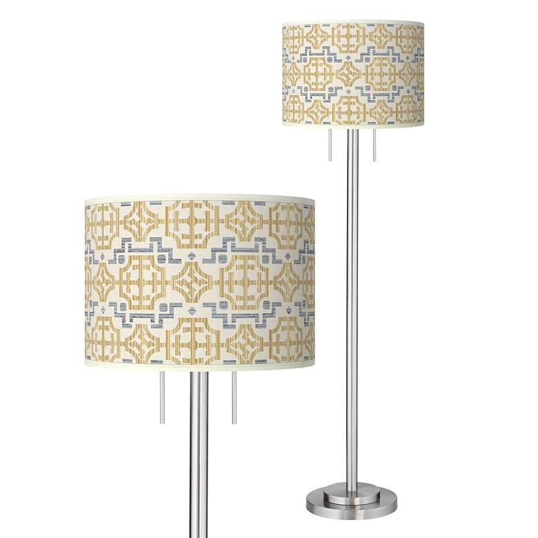 Willow Chinoiserie Giclee Brushed Nickel Garth Floor Lamp
