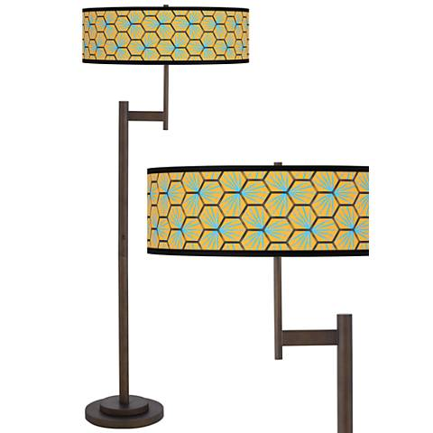 Hexagon Starburst Parker Light Blaster™ Bronze Floor Lamp