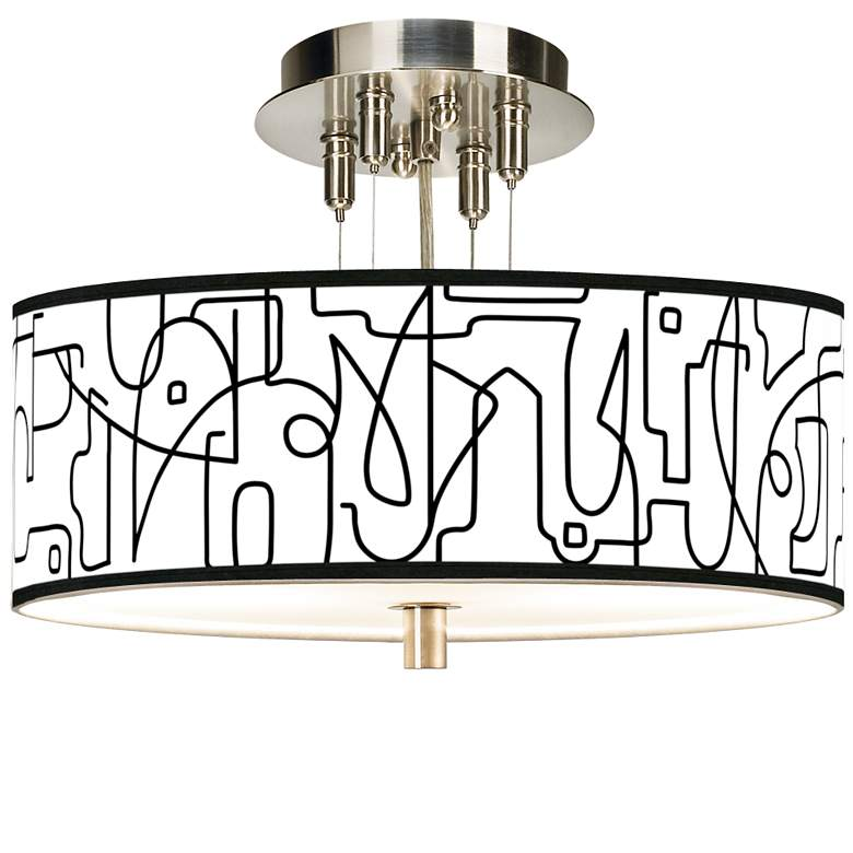 """Scribble World Giclee 14"""" Wide Ceiling Light"""