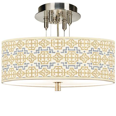 "Willow Chinoiserie Giclee 14"" Wide Ceiling Light"
