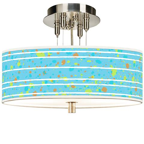 """Paint Drips Giclee 14"""" Wide Ceiling Light"""