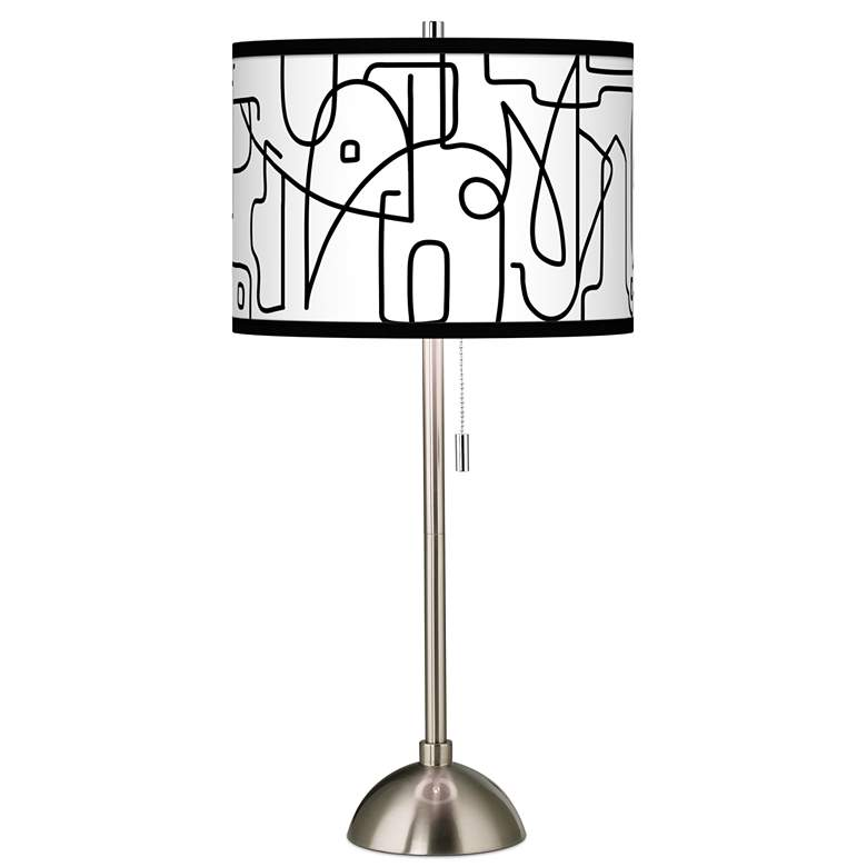 Scribble World Giclee Brushed Nickel Table Lamp