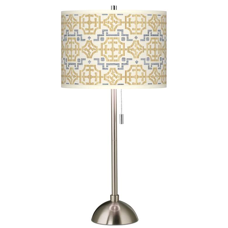 Willow Chinoiserie Giclee Brushed Nickel Table Lamp