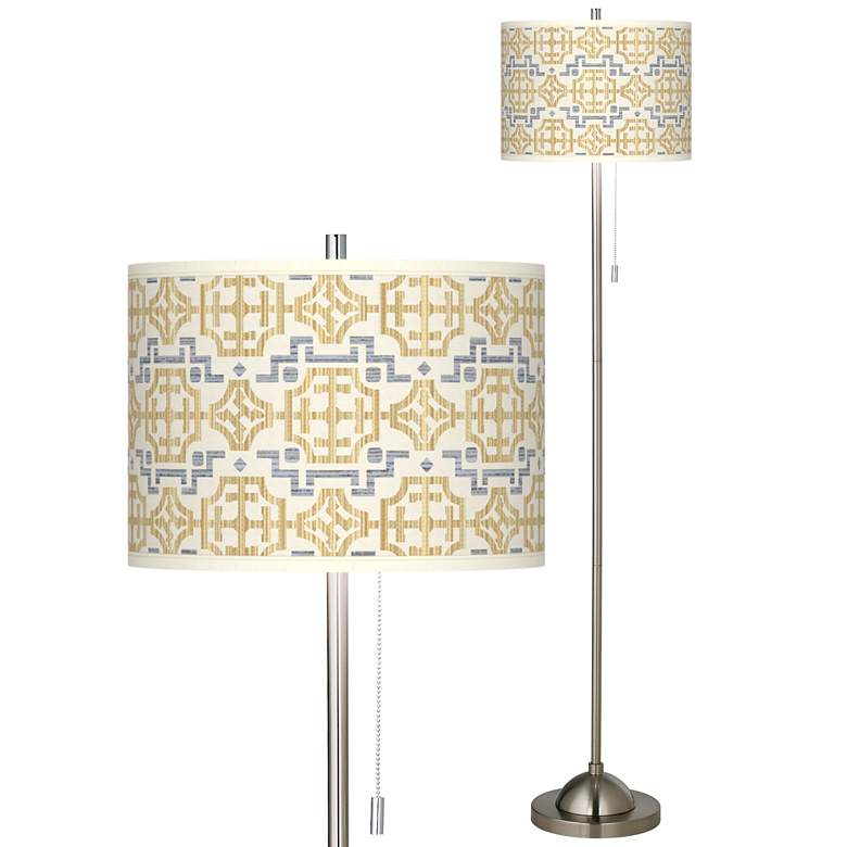 Willow Chinoiserie Brushed Nickel Pull Chain Floor Lamp