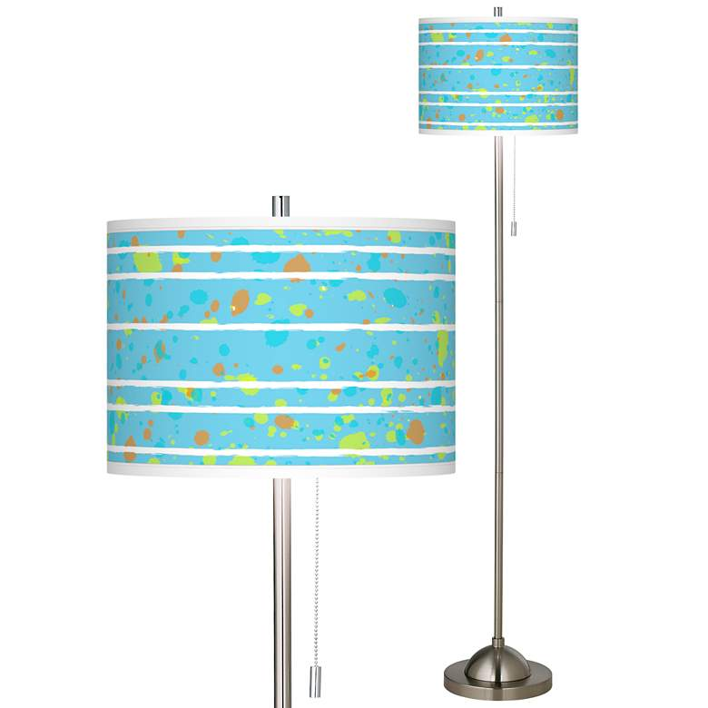 Paint Drips Brushed Nickel Pull Chain Floor Lamp