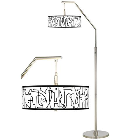 Scribble World Giclee Shade Arc Floor Lamp