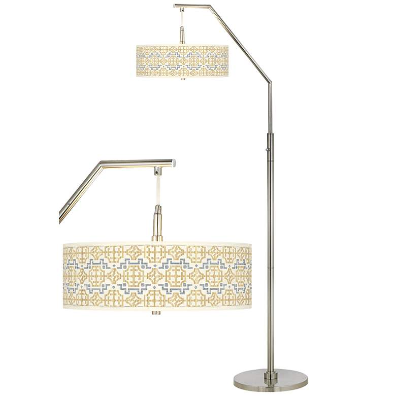 Willow Chinoiserie Giclee Shade Arc Floor Lamp