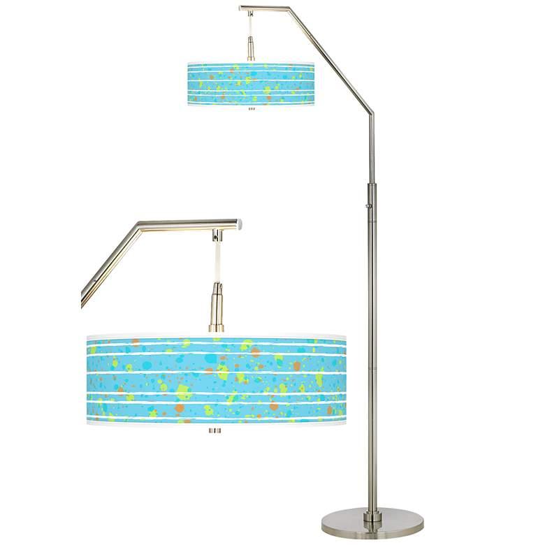 Paint Drips Giclee Shade Arc Floor Lamp