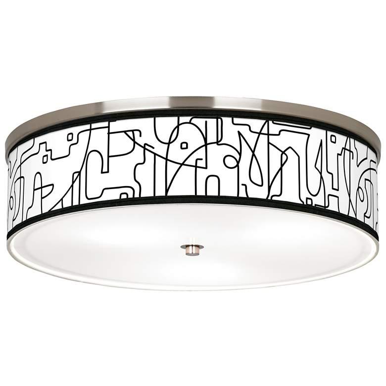 "Scribble World Giclee Nickel 20 1/4"" Wide Ceiling Light"