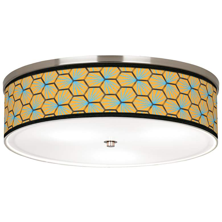 "Hexagon Starburst Giclee Nickel 20 1/4"" Wide Ceiling Light"