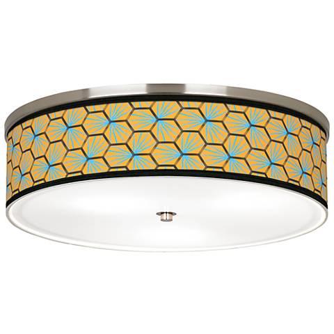 "Hexagon Starburst Giclee Nickel 20 1/4"" Wide Ceiling Light"
