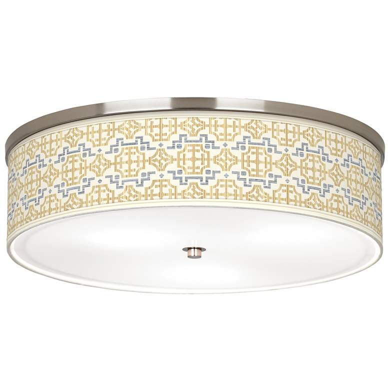 """Willow Chinoiserie Giclee Nickel 20 1/4"""" Wide Ceiling Light"""