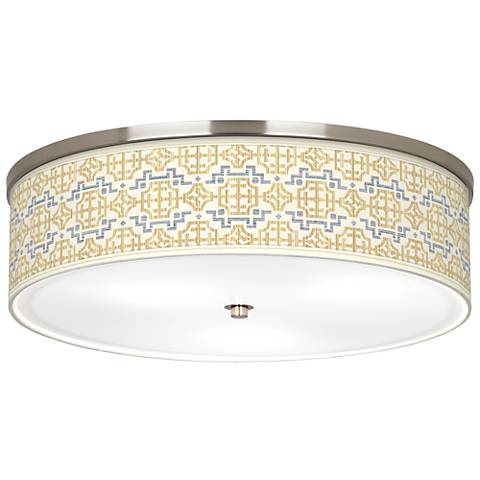 "Willow Chinoiserie Giclee Nickel 20 1/4"" Wide Ceiling Light"