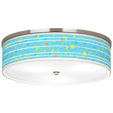 """Paint Drips Giclee Nickel 20 1/4"""" Wide Ceiling Light"""