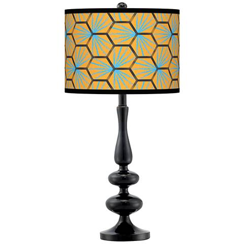 Hexagon Starburst Giclee Paley Black Table Lamp