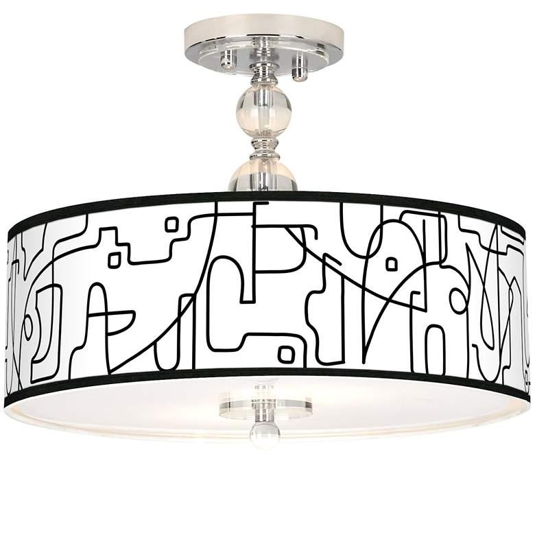 """Scribble World Giclee 16"""" Wide Semi-Flush Ceiling Light"""