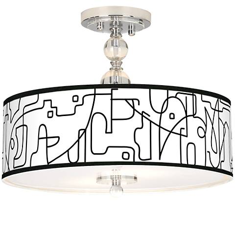 "Scribble World Giclee 16"" Wide Semi-Flush Ceiling Light"