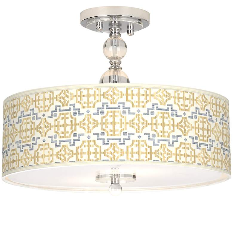 """Willow Chinoiserie Giclee 16"""" Wide Semi-Flush Ceiling Light"""