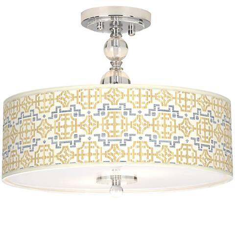 "Willow Chinoiserie Giclee 16"" Wide Semi-Flush Ceiling Light"