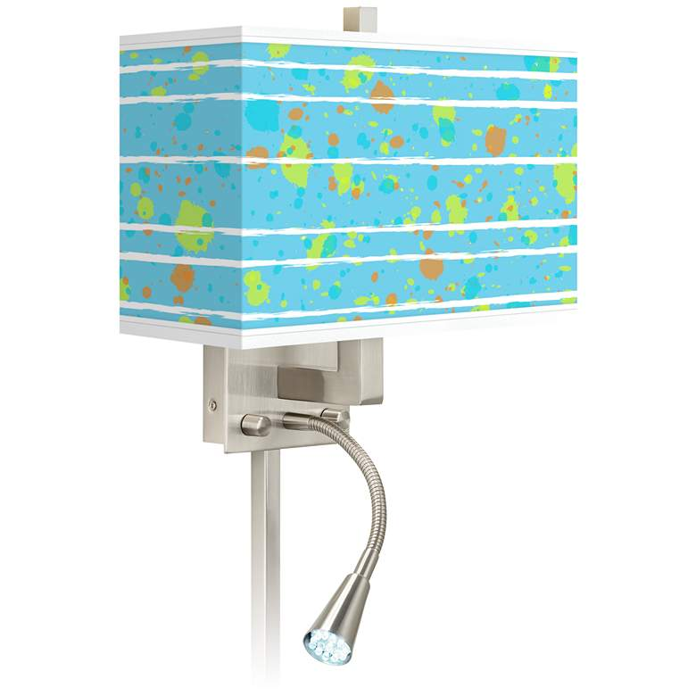 Paint Drips Giclee Glow LED Reading Light Plug-In Sconce