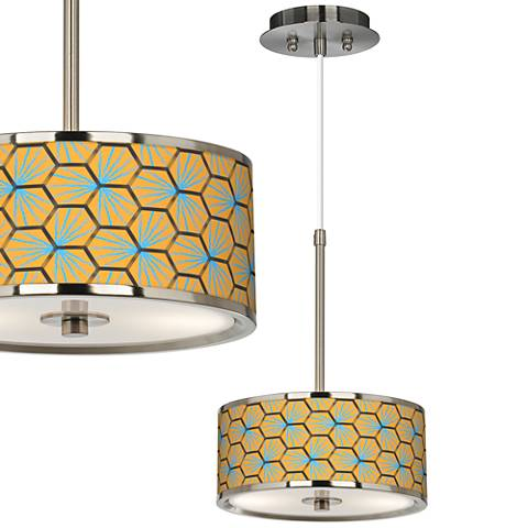 "Hexagon Starburst Giclee Glow 10 1/4"" Wide Pendant Light"