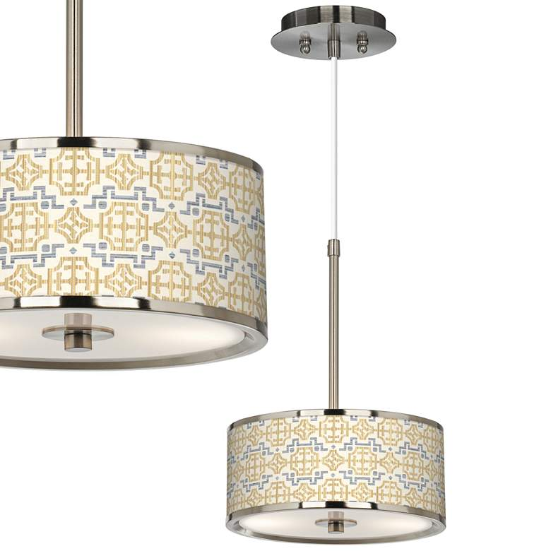 """Willow Chinoiserie Giclee Glow 10 1/4"""" Wide Pendant Light"""