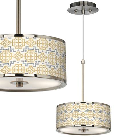 "Willow Chinoiserie Giclee Glow 10 1/4"" Wide Pendant Light"