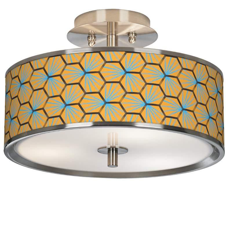 "Hexagon Starburst Giclee Glow 14"" Wide Ceiling Light"