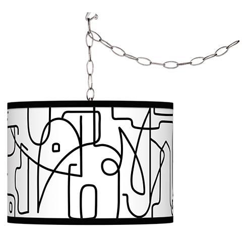 Scribble World Giclee Glow Plug-In Swag Pendant