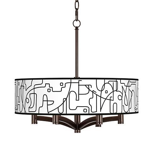 Scribble World Ava 6-Light Bronze Pendant Chandelier